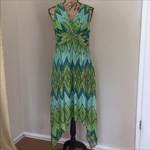 Chicos green matrix high low lined dress size 8